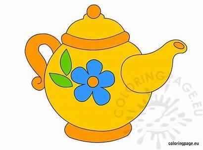 Teapot Clip Coloring Coloringpage Eu