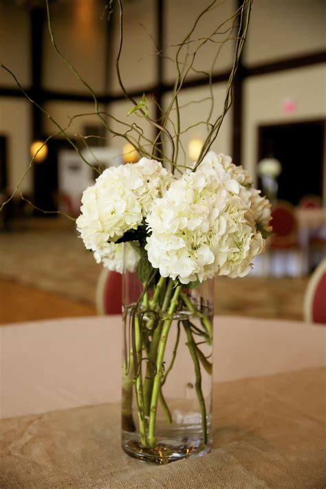 hydrangeas curly willow simple wedding centerpieces dw floral ideas pinte