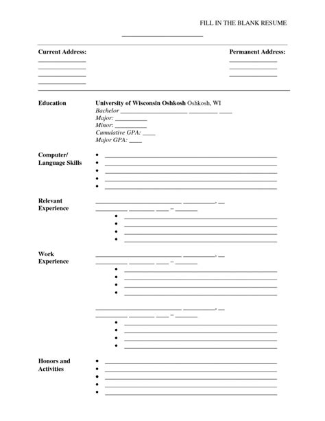 Fill In The Blank Resume Outline by Printable Fill In Resumes