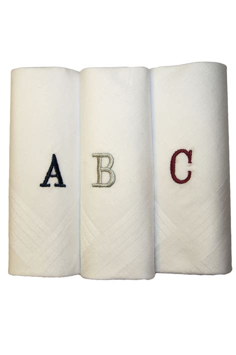 monogrammed handkerchiefs men 2 letter set of 3 mens white cotton monogrammed 3 pack box set handkerchiefs