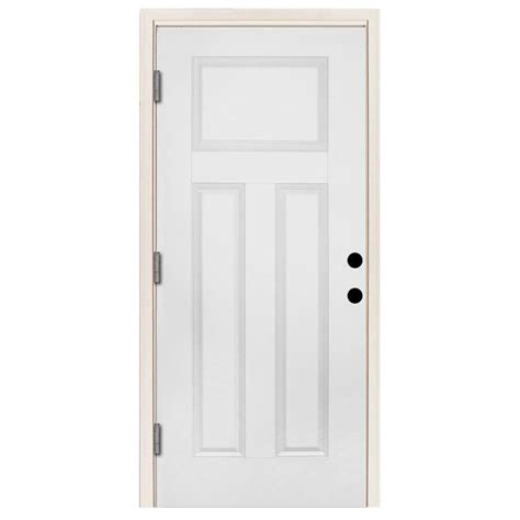 right outswing exterior door steves sons 36 in x 80 in premium 3 panel primed white