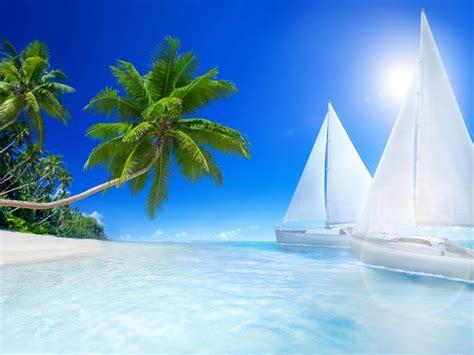tropical landscape ocean islands beaches palm trees boats