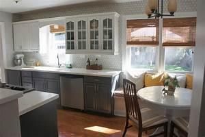 Gray and White Kitchen Makeover with Hexagon Tile Backsplash 886