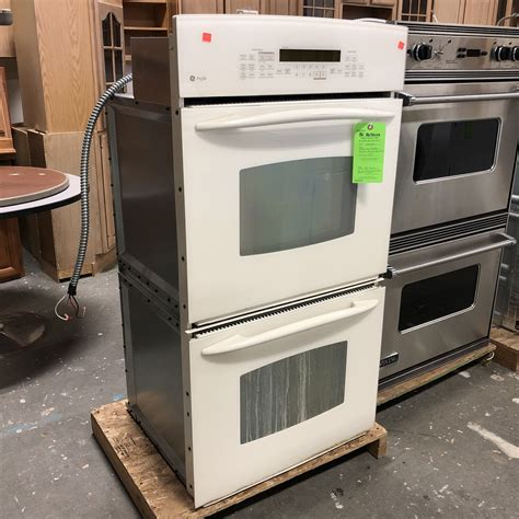 white ge profile electric double wall oven