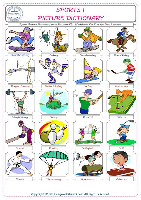 sports esl printable picture english dictionary worksheets