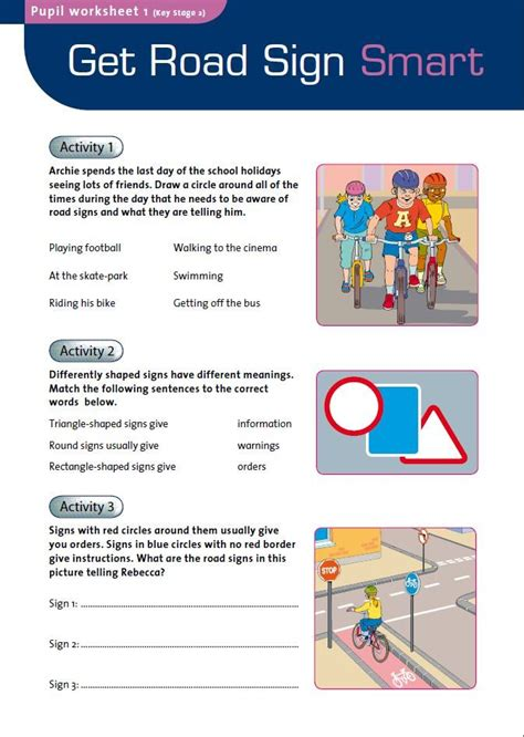 road safety worksheets for kindergarten cyclists