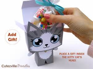 cat gift box cutezville printables kitty cat printable gift box