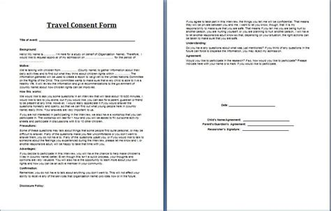 travel consent form microsoft templates travel consent