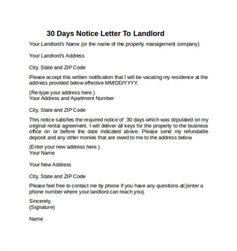 sample  days notice letters  landlord  word