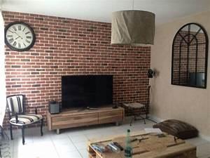 faux mur de brique diy avec des plaques de chez leroy With idee de plan de maison 11 les briques de parement et les briques apparentes