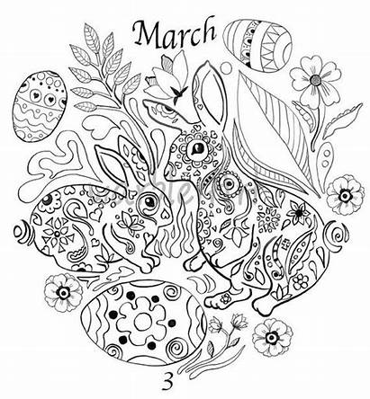 Coloring March Adult Printable Easter Bunny Calendar
