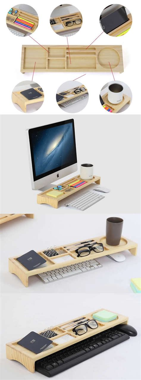 diy phone stand for desk wooden stationery office desk organizer phone stand holder