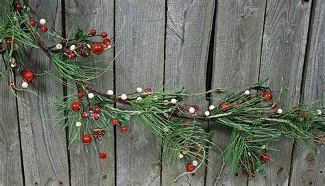 Icy Winter Pine, Red and White Berry Garland with Pine