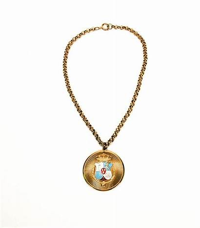 Royal Medallion Necklace Crown 1940 1950 1960