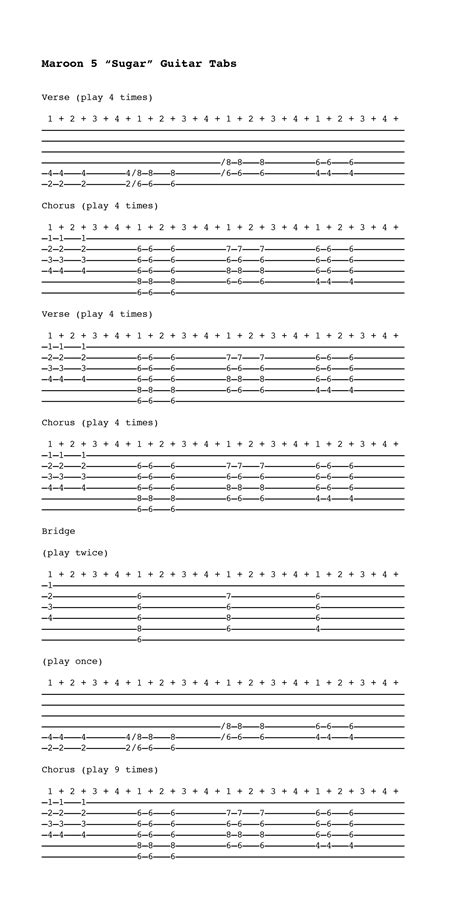 maroon 5 chords sugar partition guitare sugar maroon 5