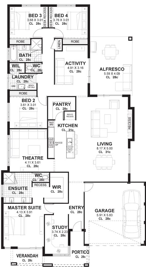 4 Bedroom Floor Plan by 4 Bedroom House Plans Home Designs Perth Vision One Homes