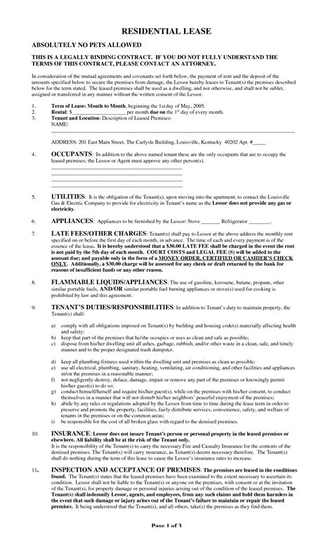 Best Photos Of Printable Copy Of Lease Agreement Free