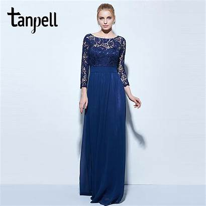 Lace Evening Dresses Navy Chiffon Length Line