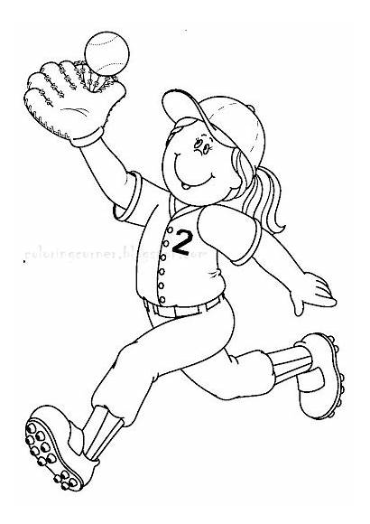 Baseball Coloring Pages Printable Player Field Getcoloringpages