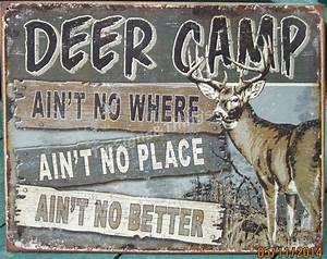 Deer Camp buck TIN SIGN rustic metal hunting cabin bar
