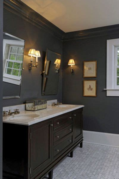 Grey Bathroom Fixtures by Gray Bathroom Walls With The Wood Vanity And