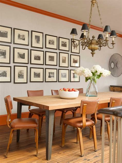 rustic picture frame collage dining room eclectic