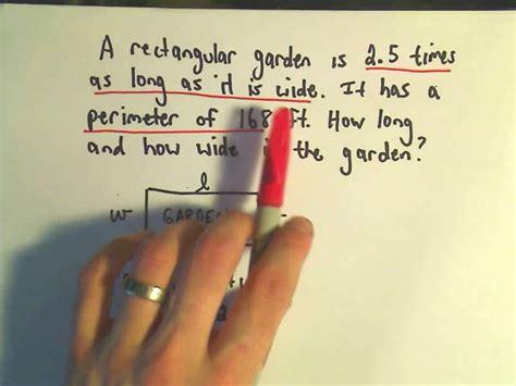 word problem involving  perimeter   rectangle youtube