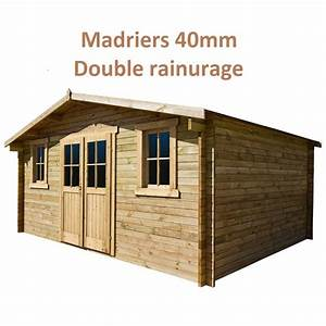 Abri de jardin 16m² PLUS en bois 40mm traité teinté marron Gardy Shelter