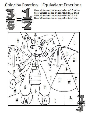 Equivalent Fractions Worksheetsthese Coloring Sheets Make Learning About Equivalent Fractions