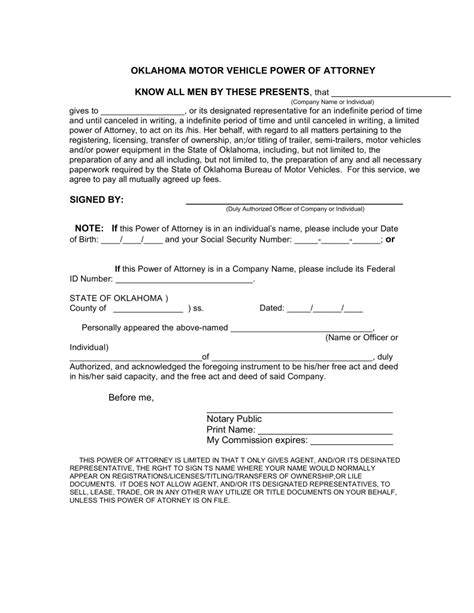 oklahoma motor vehicle power  attorney form