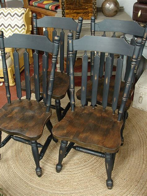 reclaimed vintage black paint early american set  dining