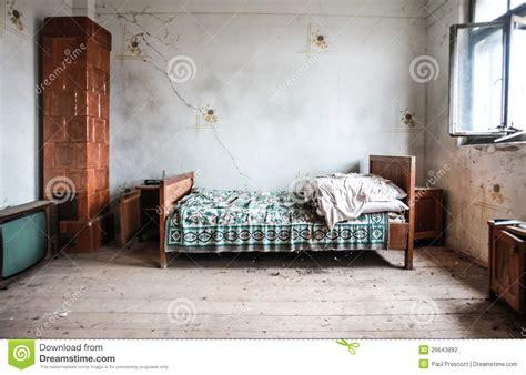 abandoned bedroom stock photography image