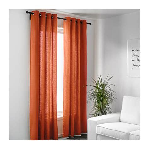 mariam curtains 1 pair orange 145x300 cm ikea