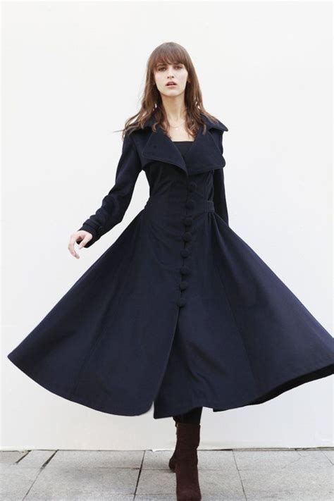 navy blue cashmere coat big sweep women wool winter coat