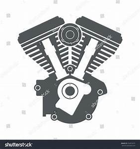 Motorcycle Engine V Twin Vector Flat Stock Vector