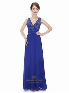 Royal Blue V Neck Chiffon Prom Dress With Lace Embellished ...