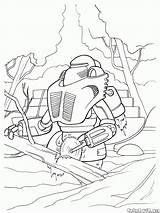 Robot Coloring Welder Woodcutter sketch template