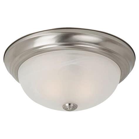 brushed nickel flush mount ceiling light shop sea gull lighting 13 in w brushed nickel ceiling