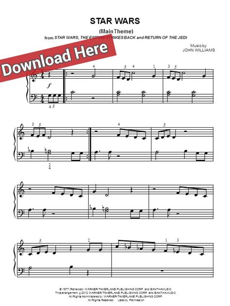 john williams star wars main theme sheet music piano