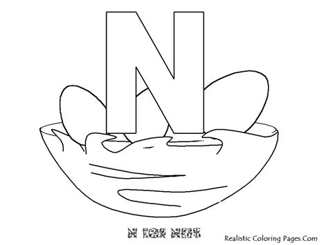 coloring pages letter n nest coloring pages
