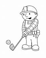Coloring Golf Pages Bob Sports Builder Books Cartoons Palying Comic sketch template