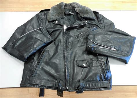 Vtg Montgomery Ward Genuine Leather Men's Motorcycle