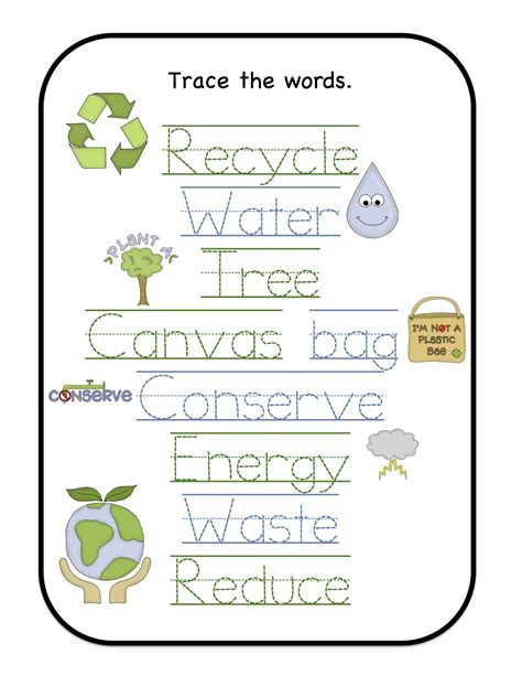 february 2013 preschool printables 174 | Earth Trace the words