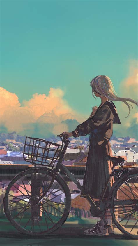 wallpaper girl bicycle city  art
