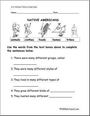 Worksheet Native Americans (primaryelementary) Abcteach
