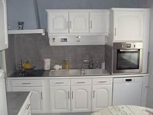 Cuisine Repeinte En Blanc : renovation cuisine grise et blanche id e cuisine ~ Melissatoandfro.com Idées de Décoration