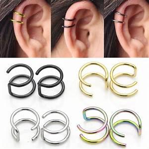 Steel Clip On Closure Ring Double Hoop Earrings Cartilage ...