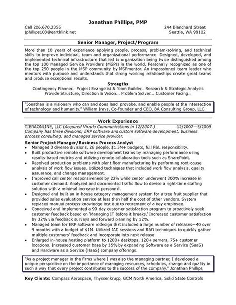 It Manager Resume Format by Senior It Manager Resume Exle