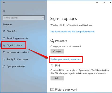 Add Security Questions In Windows 10 Lock Screen To Reset