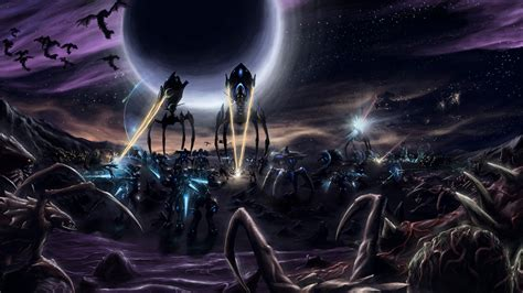 wallpaper starcraft legacy   void art protoss attack